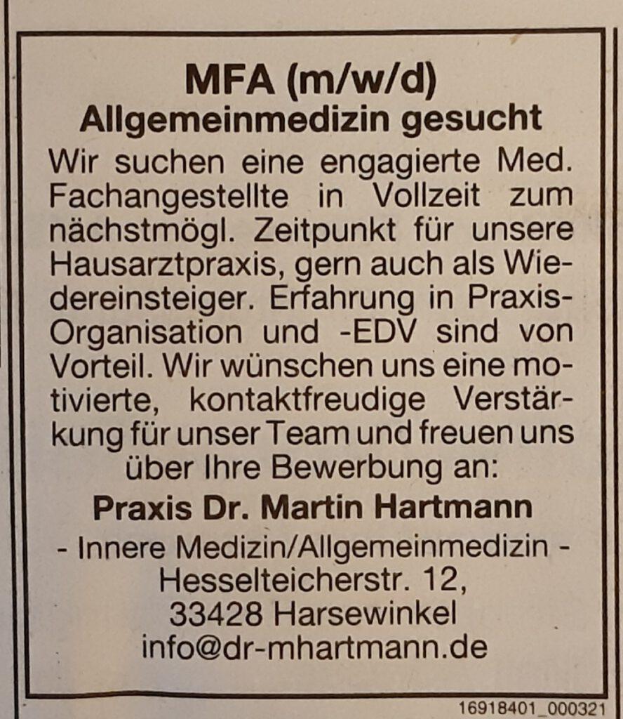 MFA (m/w/d) Allgemeinmedizin gesucht